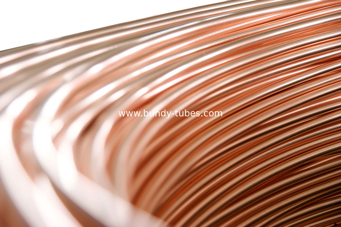Steel Copper Coated Tube , Welded Bundy Pipe 6.35mm X 0.65 mm